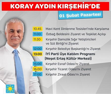 KORAY AYDIN PAZARTESİ GÜNÜ KIRŞEHİR'DE
