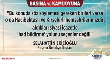 """BAŞKAN EKİCİOĞLU """"HACIBEKTAŞ"""" KONUSUNDA SON NOKTAYI KOYDU!"""